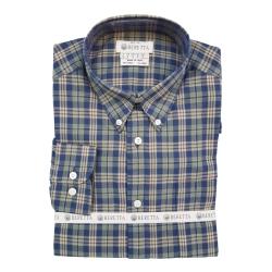 Beretta Camicia Drip Dry Button Down Grigio/Blu a Quadri
