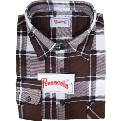 Pensacola Camicia in Flanella Marrone/Bianca
