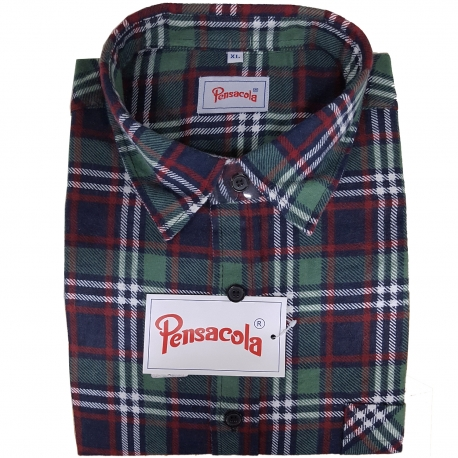 super popular d08b4 2d138 Pensacola Camicia in Flanella Verde/Blu